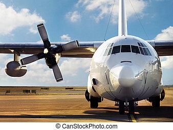 aeroporto, avião, estacionado