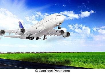 aeroporto., avião, runway., desligado, modernos, tomar