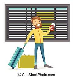aeroporto., branca, homem, passaporte, bagagem