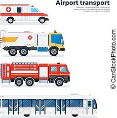 aeroporto, branca, transporte, isolado, tipos
