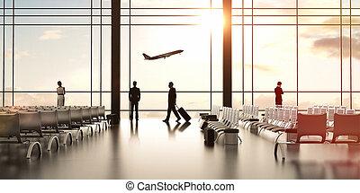 aeroporto, com, pessoas