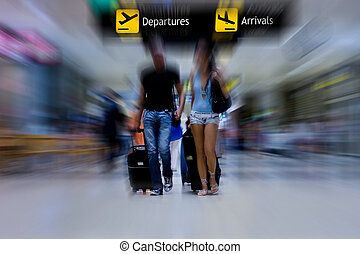 aeroporto, coppia