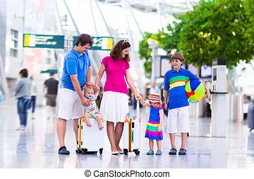 aeroporto, crianças, família