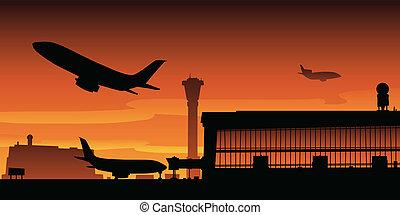 aeroporto, decolagem