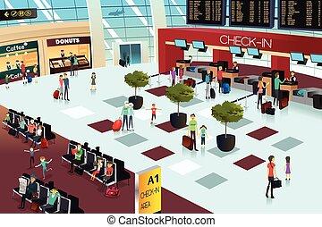 aeroporto, dentro, cena