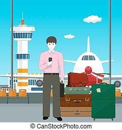 aeroporto, europeu, homem, bagagem