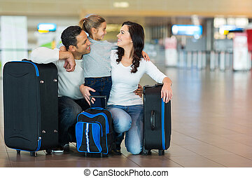 aeroporto, famiglia, abbracciare