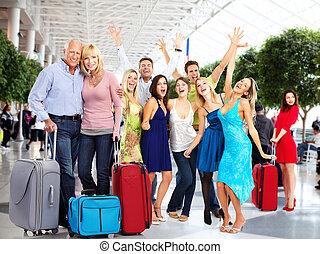 aeroporto., feliz, pessoas