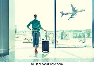 aeroporto, finestra, ragazza