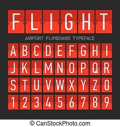 aeroporto, flipboard, appartamento, stile, font