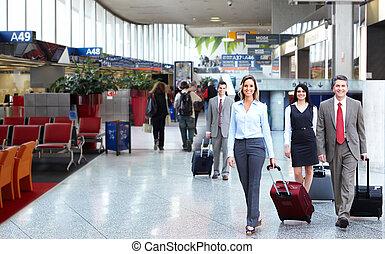 aeroporto., grupo, pessoas negócio