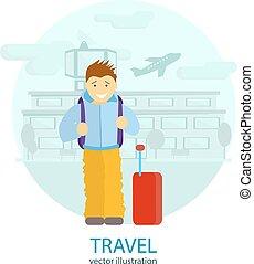 aeroporto, homem, plataformas, travel.