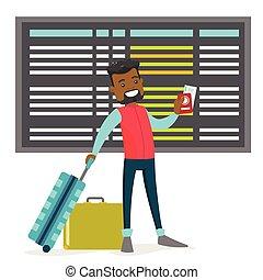 aeroporto., homem, pretas, passaporte, bagagem