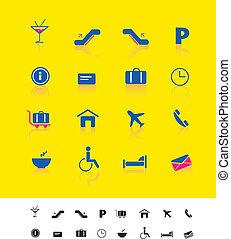 aeroporto, iconset, viaggiare