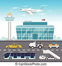 aeroporto, infographic, elementos