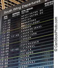 aeroporto internacional, vôo, partida, informação
