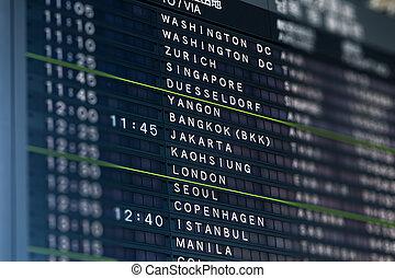 aeroporto internazionale, volo, asse, informazioni