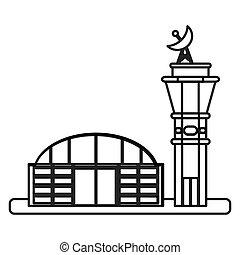 aeroporto, isolado, ícone