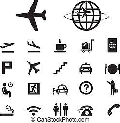 aeroporto, jogo, ícones