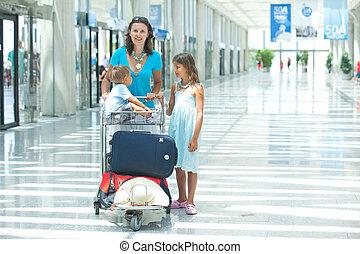aeroporto, mãe, criança