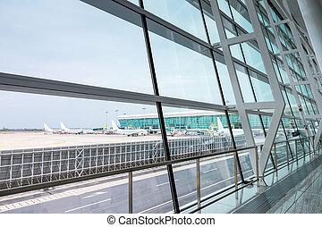 aeroporto, moderno, scena