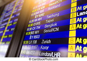 aeroporto, mostra, volo, numero