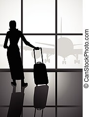 aeroporto, mulher, bagagem