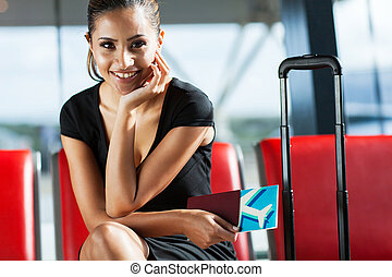 aeroporto, mulher, esperando, negócio