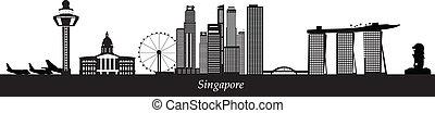 aeroporto, orizzonte, merlion, singapore