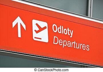 aeroporto, partida, sinal.