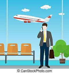 aeroporto, pasta, homem