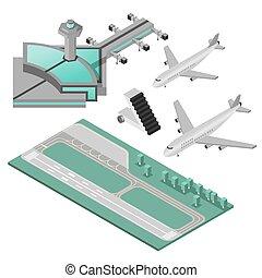 aeroporto, set, icone