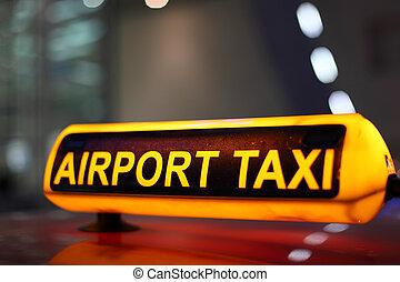 aeroporto, sinal táxi, iluminado, à noite