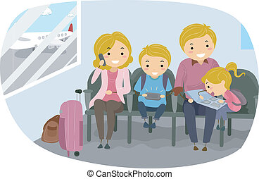 aeroporto, stickman, família