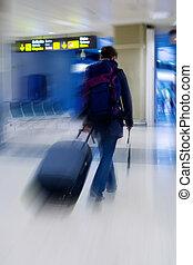aeroporto, studente