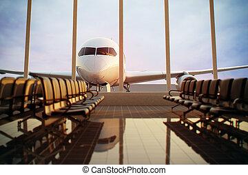aeroporto, terminal.