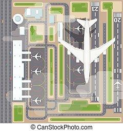 aeroporto, tiras, topo, aterragem, vista