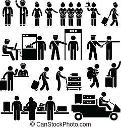 aeroporto, trabalhadores, e, segurança
