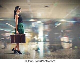 aeroporto, turista
