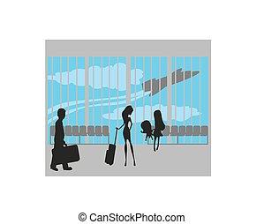 aeroporto, turistas
