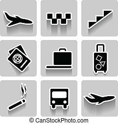 aeroporto, vetorial, cobrança, ícones