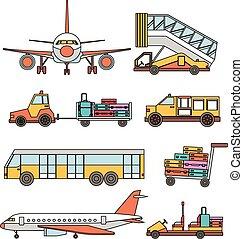 aeroporto, vetorial, jogo, linha, transporte