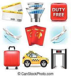 aeroporto, vettore, set, icone