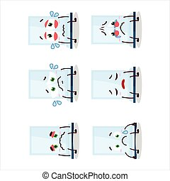 Aeropress cartoon in character with sad expression.Vector illustration