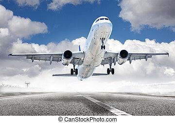 aeropuerto, avión, despegue