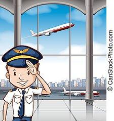 aeropuerto, capitán, línea aérea