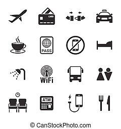 aeropuerto, conjunto, iconos