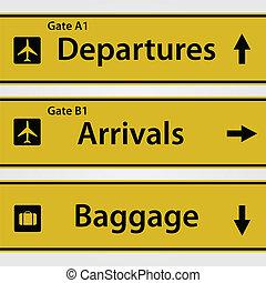 aeropuerto, ilustración, señales