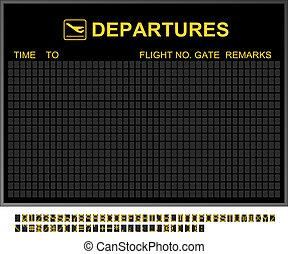 aeropuerto internacional, salidas, vacío, tabla