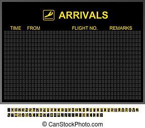 aeropuerto internacional, vacío, tablero de las llegadas